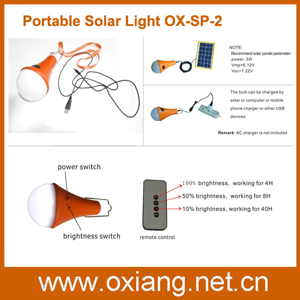Indoor Portable Solar Light LED with Remote Controller Switch