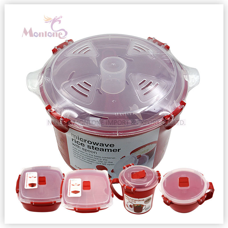 BPA Free 2.6L Food Grade Plastic Microwave Rice Steamer with Spoon