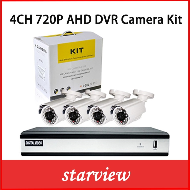4CH Security Digital Camera System Ahd DVR Recorder Kits with 4 CCTV Cameras