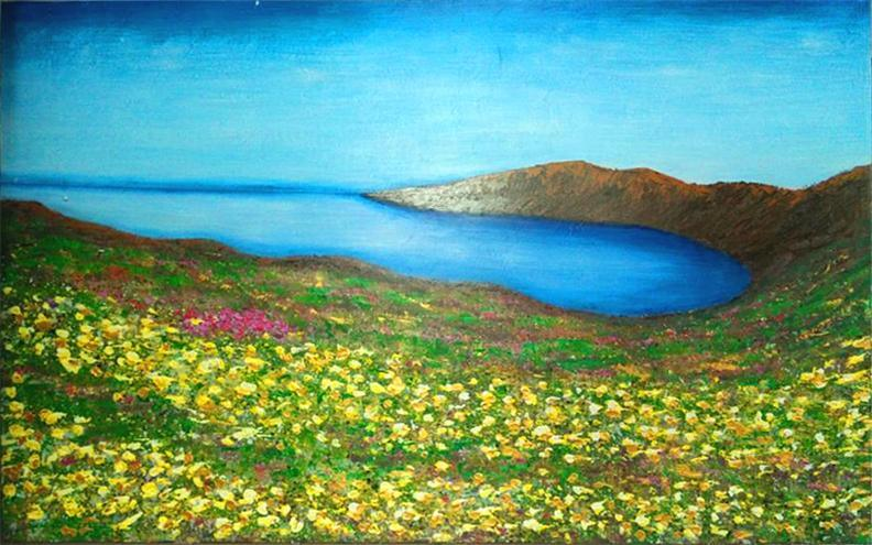 Spring Blue Lake Flower Season Grassland Landsacpe Oil Painting
