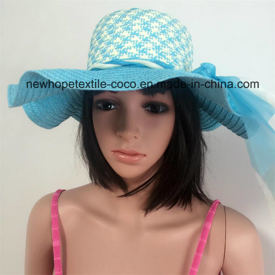 100% Paper Straw Hat, Fashion Floppy Falbala Style with Ribbon Decoration