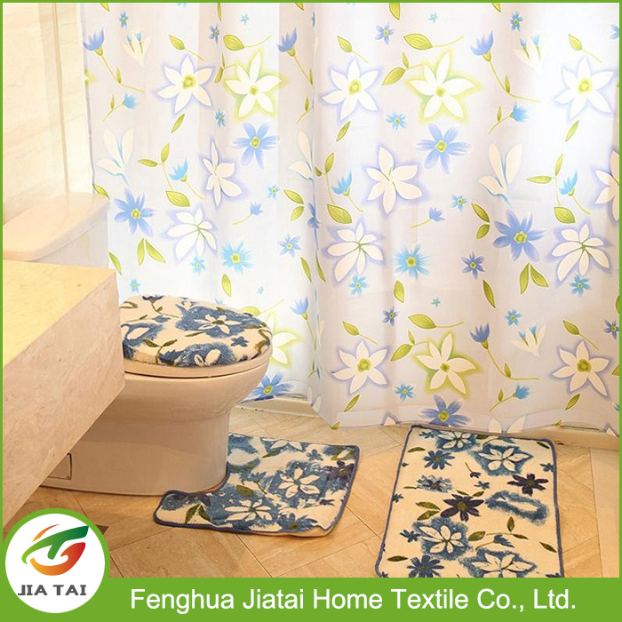 Cheap Floral Polyester Fabric Bathroom Shower Curtain Sets