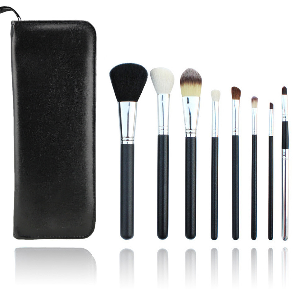 8PCS Goat Hair Black Essential Makeup Brushes Set with Bag