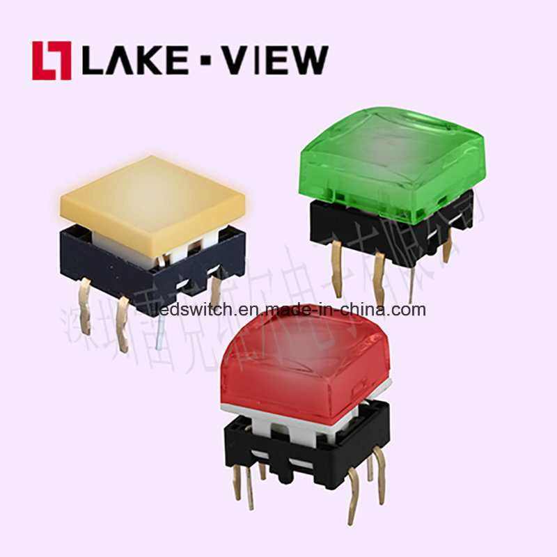 13.4*13.4 Square Illuminated Tactile Switch with Multiple LED Color Options
