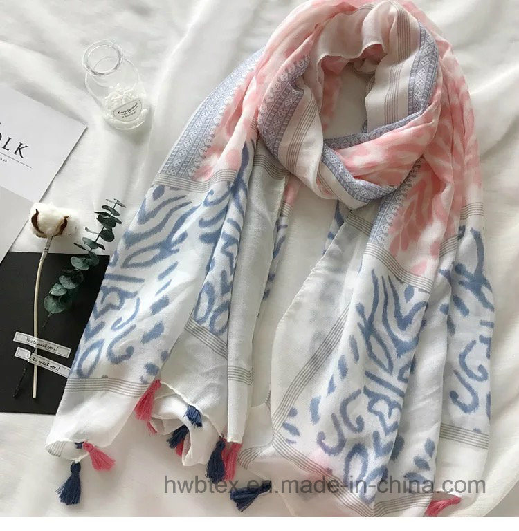 New Customized Zebra Ink Printing Thin Lady′s Polyester Scarf (HWBC32)