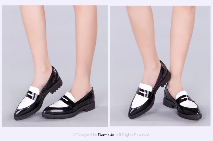 Fashion Lady Casual Patchwork Leather Women Pointed Toe Flat Shoes