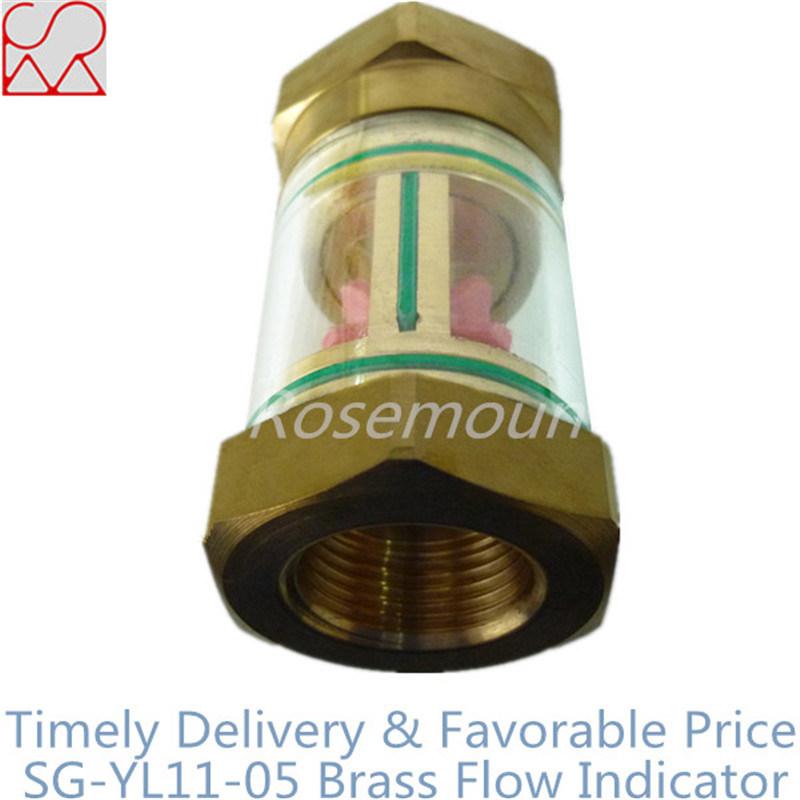 Transparent Glass Cylinder Copper Flow Indicator for Liquids