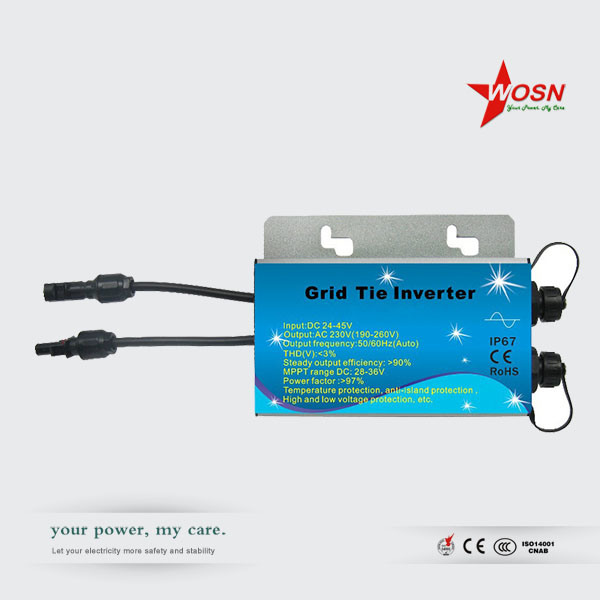 Waterproof Wmvc 300W 24-45V Input Grid Tie Microinverter