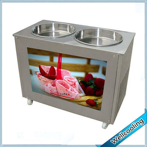 Stainless Steel Double Pan Fry Roll Ice Cream Machine