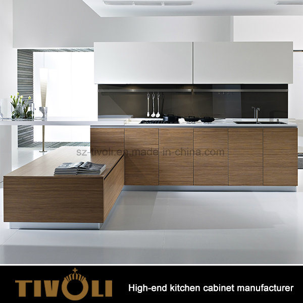 Solid Wood Veneer White High Gloss Kitchen Cabinet for Residential Apartments Australia
