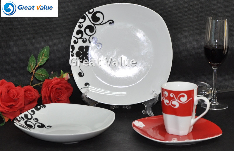 16PCS Black & Red Ceramic Dining Set