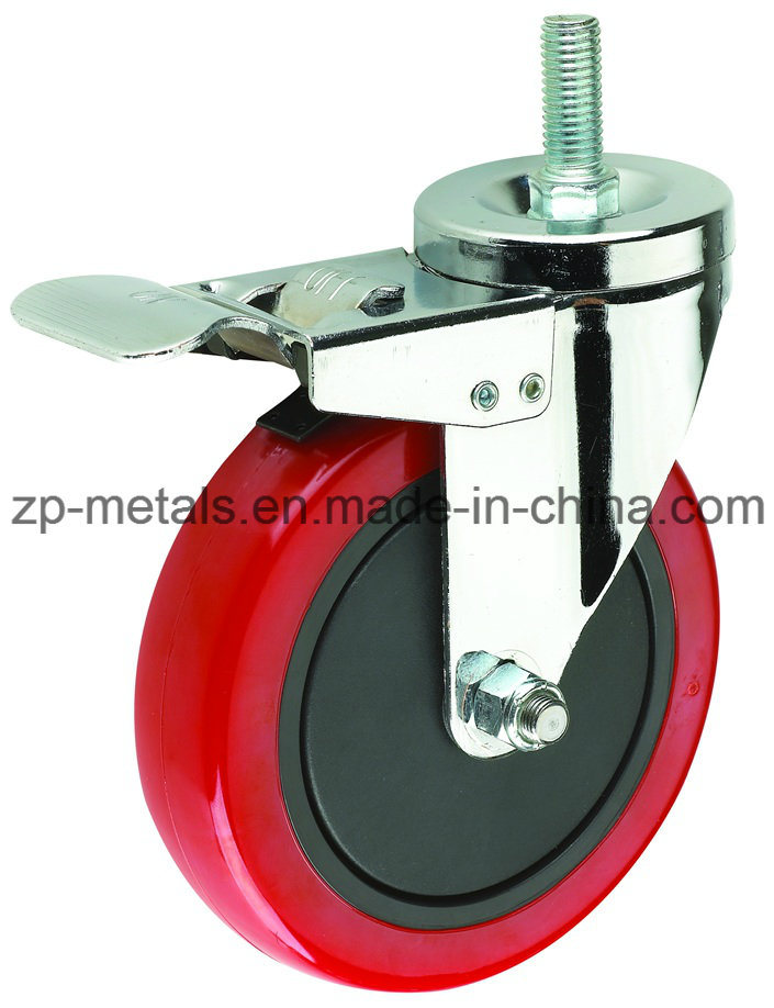 Caster Wheel for Medium-Duty Red PVC with Side Brake