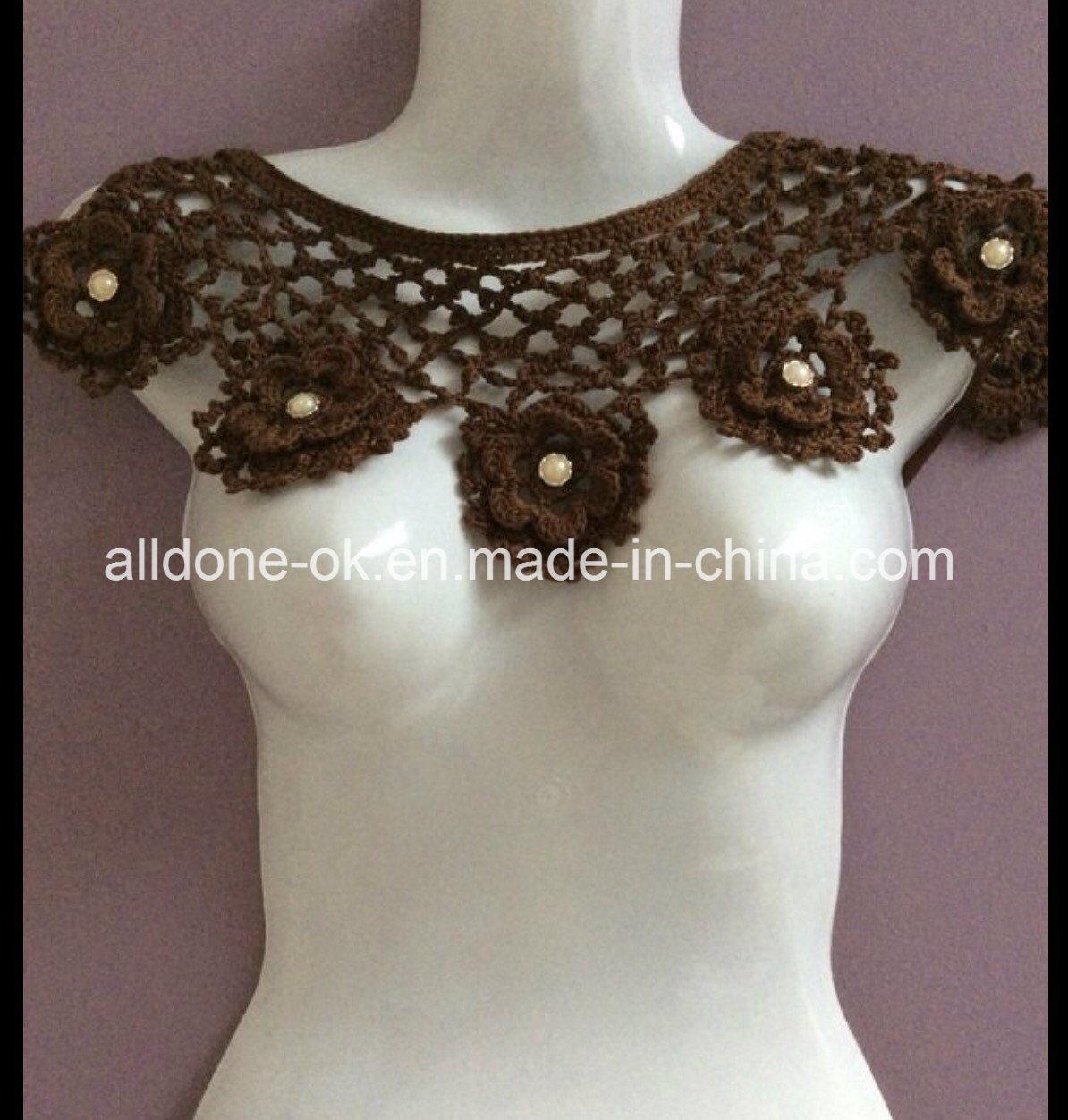 OEM Custom Hand Crochet Necklace Bib Lace Collar Garment Accessories