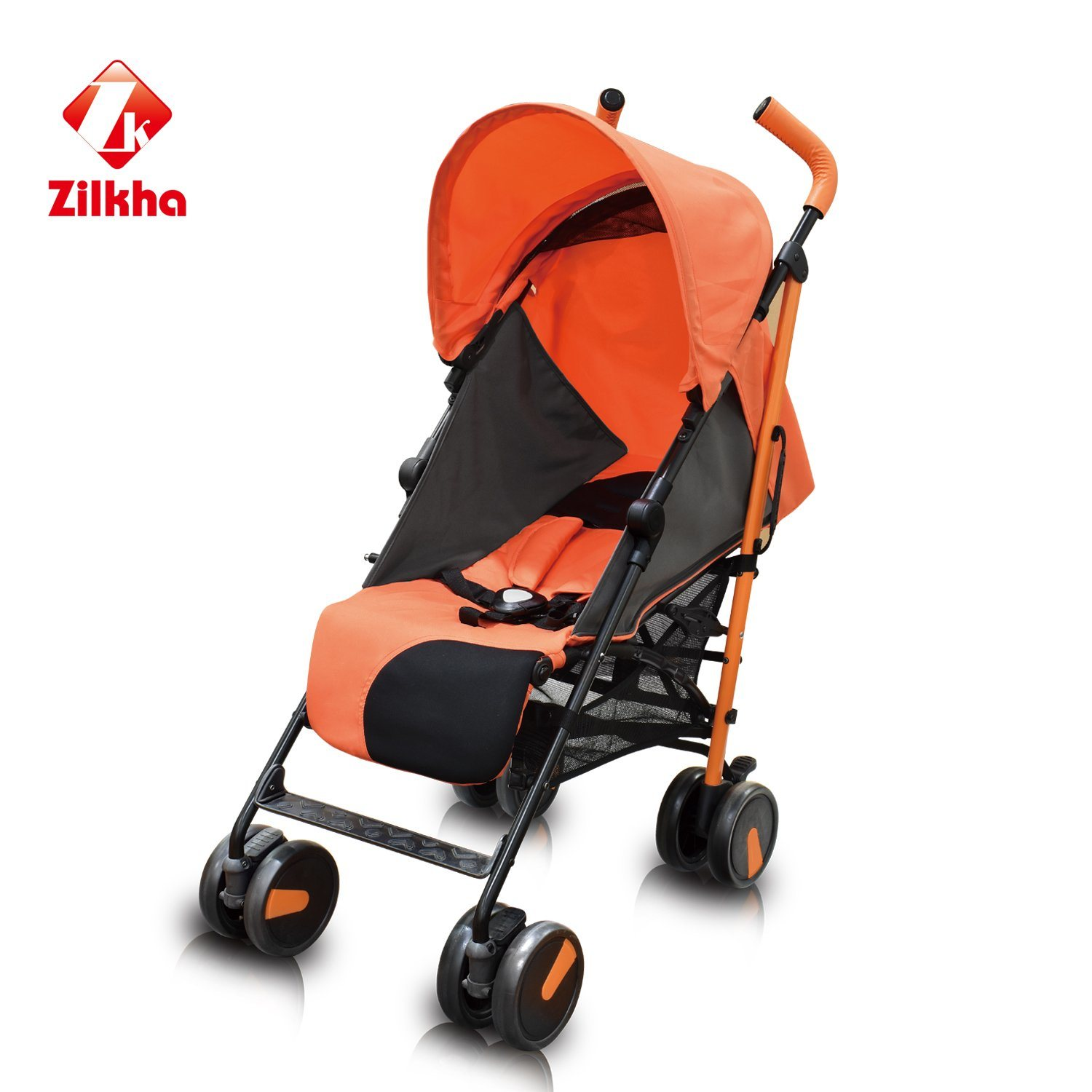 Orange Convertible Baby Carriage - Comfortable and Breathable Cover The Sun