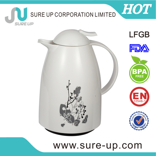 Pattern Printed Glass Inner Vacuum Coffee Pot with Plastic Body (JGUN)