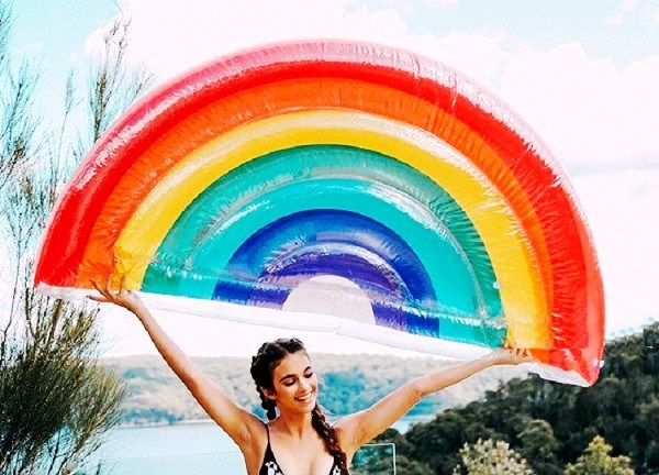 Inflatable Rainbow Pool Raft Ride on Floats, Water Mats