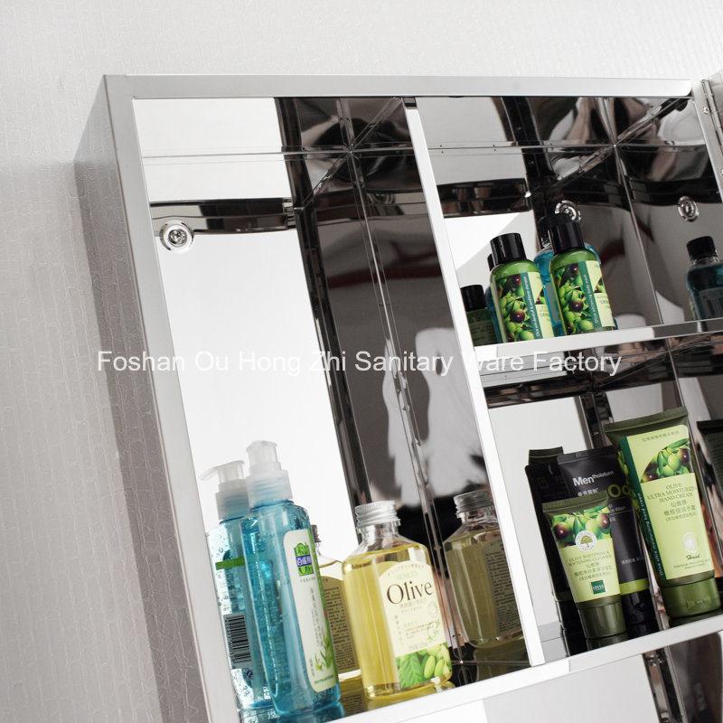 Modern Stainless Steel Bathroom Mirror Cabinet Single Door Storage Unit