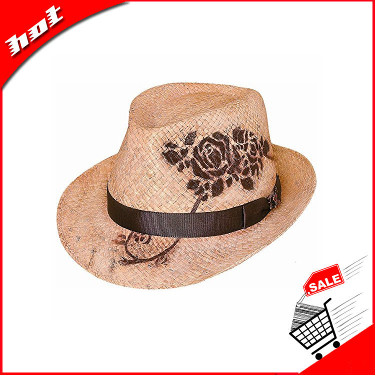 Raffia Straw Hat Fedora Hat Printing Hat