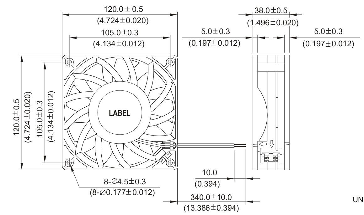 370g/120X120X38mm Ball Bearings, Pressure Boost DC12038 Axial Fan