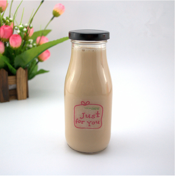 Food Container 280ml 10oz Milk Glass Bottle Yogurt Glass Bottle with Metal Lid
