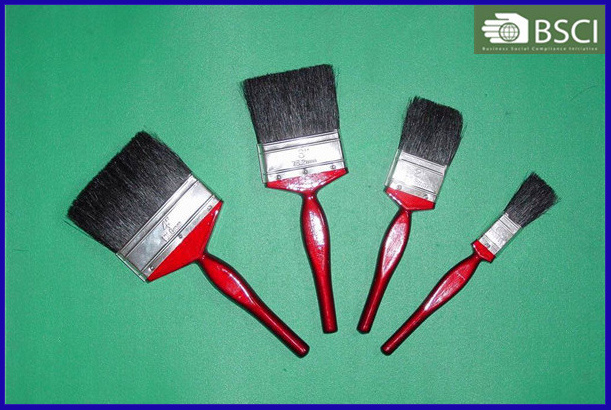 Black Bristle Paint Brush with Wooden Handle