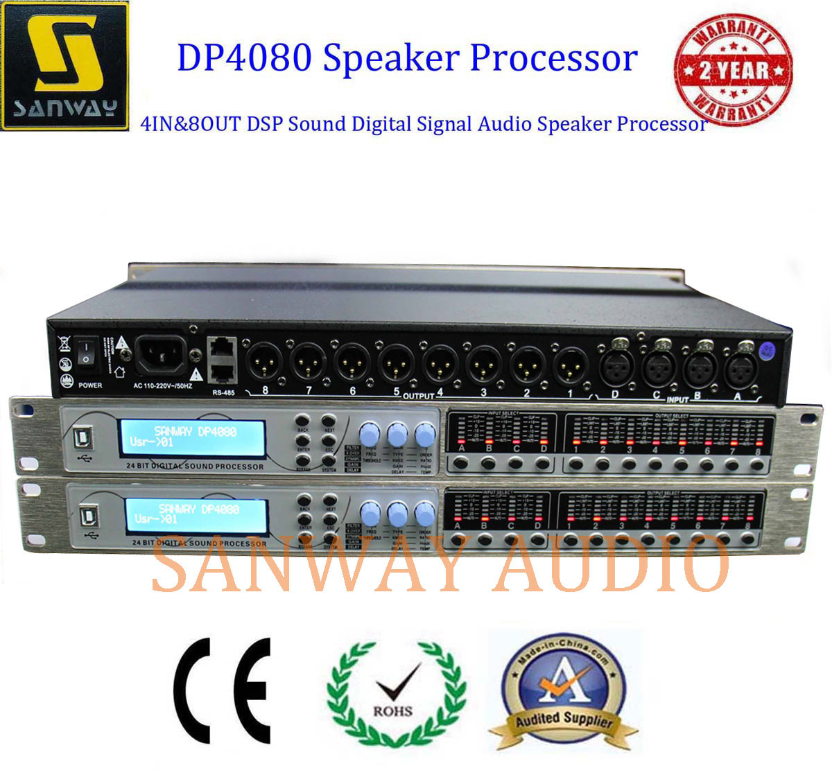 Dp4080 Professional DSP Sound Signal Speaker Processor