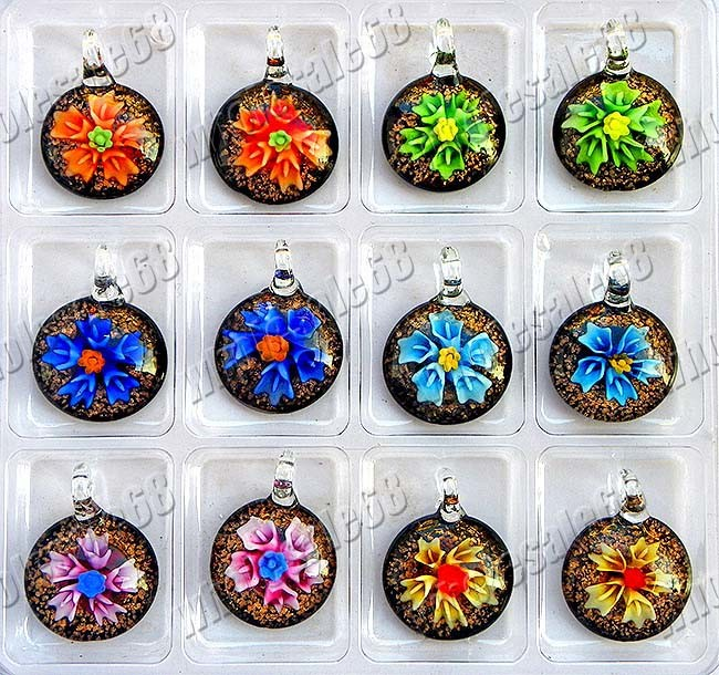 Murano Pendants on 3d Flower Round Shape Murano Glass Necklace Pendants  Penh0136