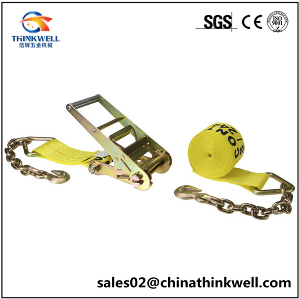 Ratchet Tie Down Strap with Chain Extensions Hooks