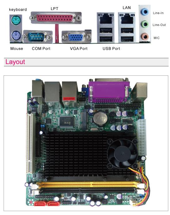 Atom D425. D525, 2X1000M LAN, Support DDR3, 4XCOM Ports Mainboard