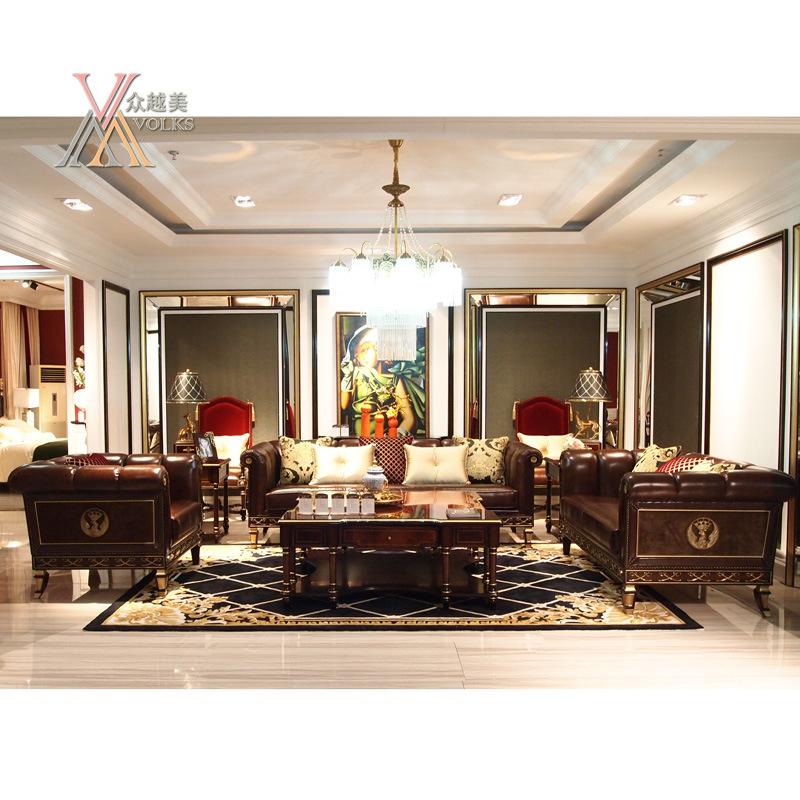 Top-Grain Leather European Antique Style Living Room Sofa (E013)