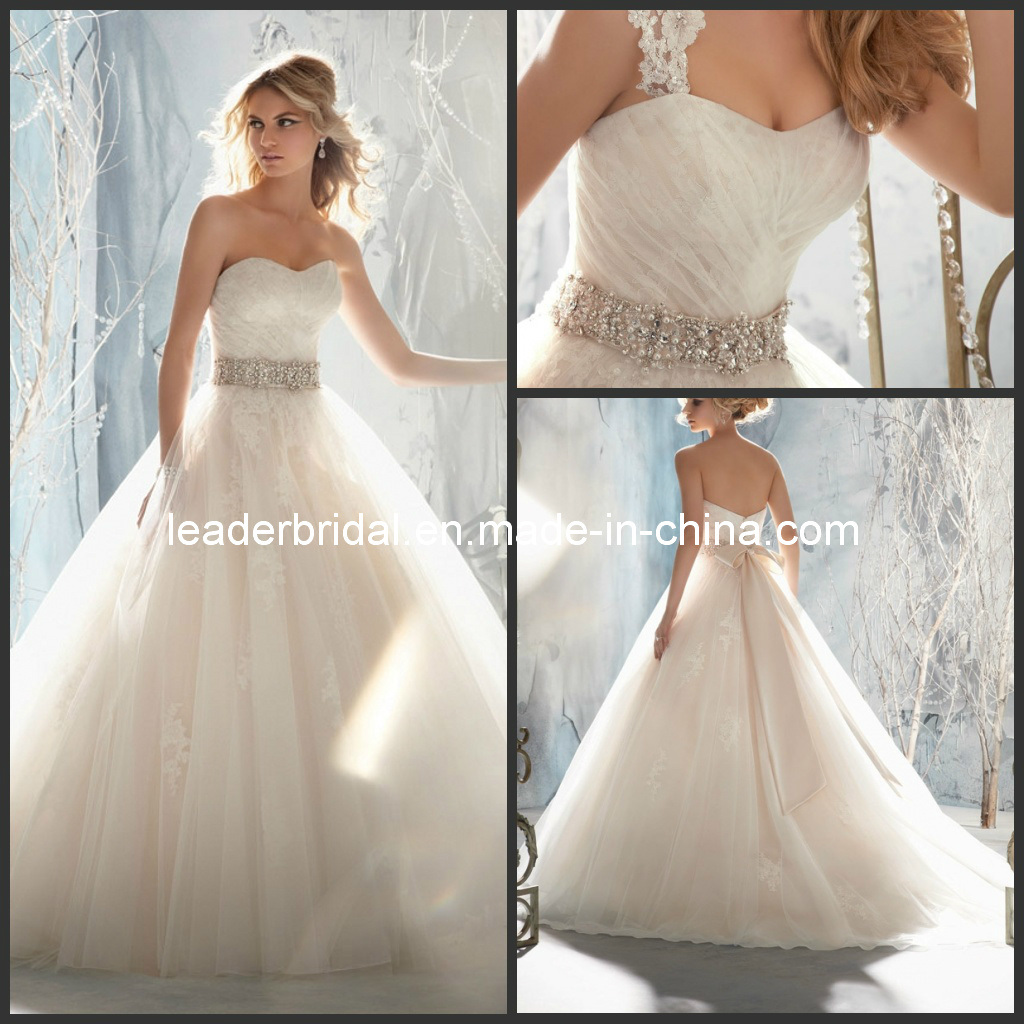 China fashion wedding dresses crystal bow sash lace bridal ball gowns
