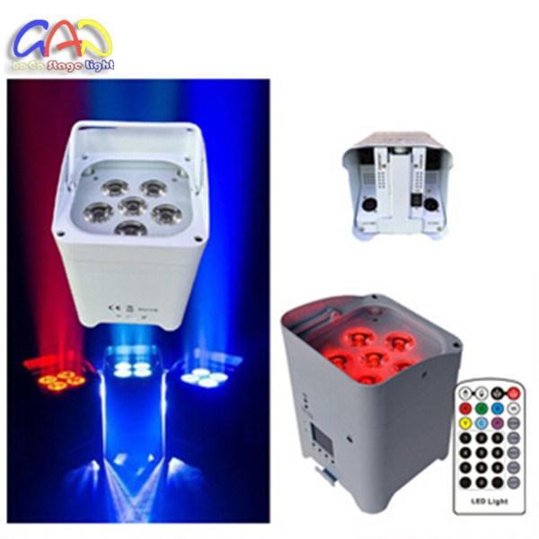 Wireless DMX Uplights DJ Stage Wedding 6pcsx18W RGBWA+UV Aluminium LED Flat PAR Can with Battery Power