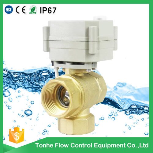 3 Way Electric Control Brass Ball Valve 3 Port Flow Control Valve with Manual Handle (DN15 DN20)