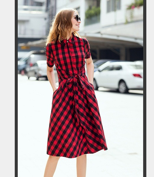 OEM 2015 100% Cotton Knee Length Women Plaid Skirt