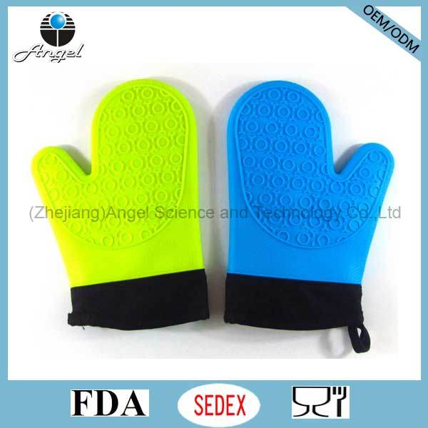 Short Silicone Oven Glove with Cotton Fabric Sg05