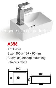 No. A358 Bathroom Rectangular Ceramic Sanitary Ware Counter Art Basin