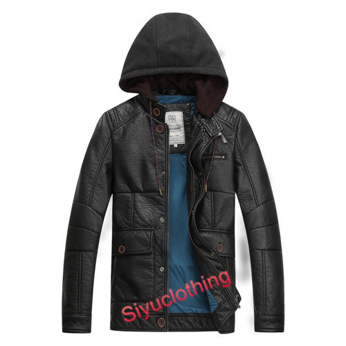 Men Leather Hoody Casual Fashion Warm Winter Clothing Waterproof Jacket (F-1633)