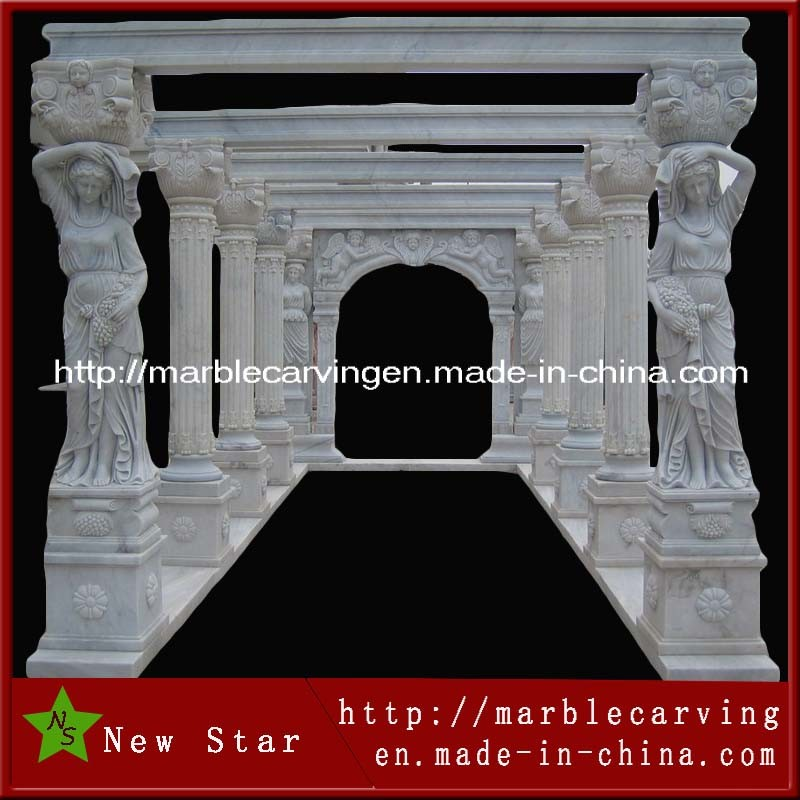 Large Rectangle Stone Carving Marble Roman Pavilion