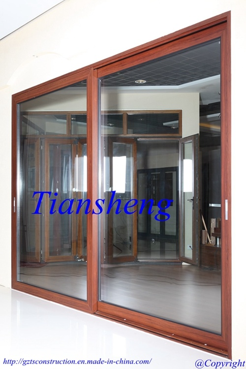 High Quality Customized Two Tracks or Three Track Aluminum Sliding Door with Double Glazing Built-in Blind