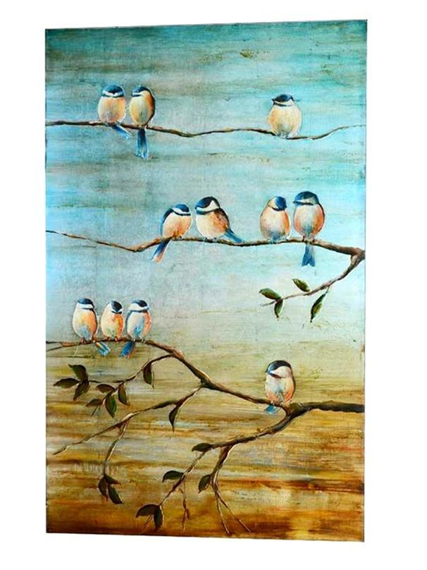 Hand-Painted Birds Painting on Canvas (LH-058000)