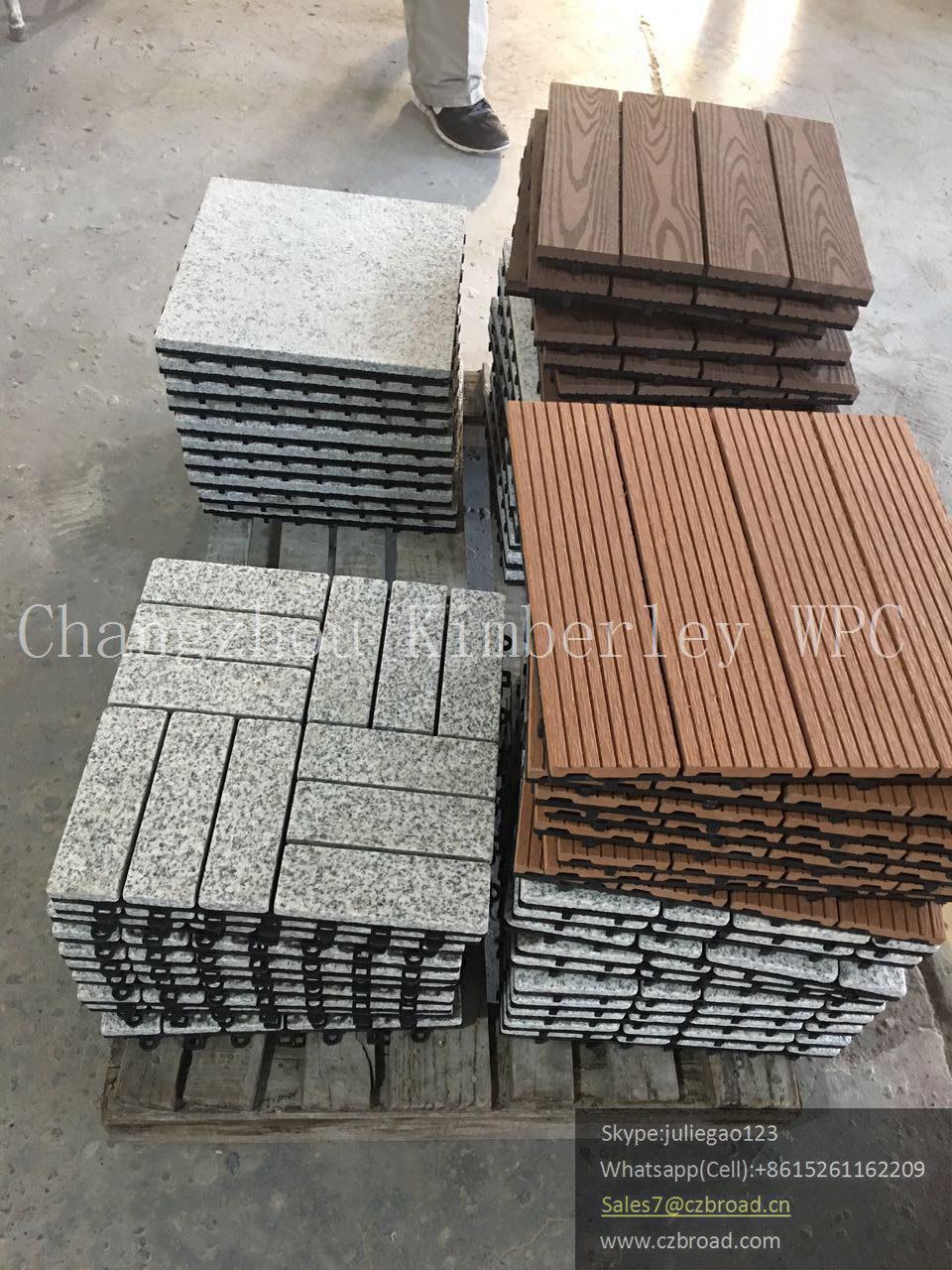Wood PE Easy Assemble Outdoor Tile Floor