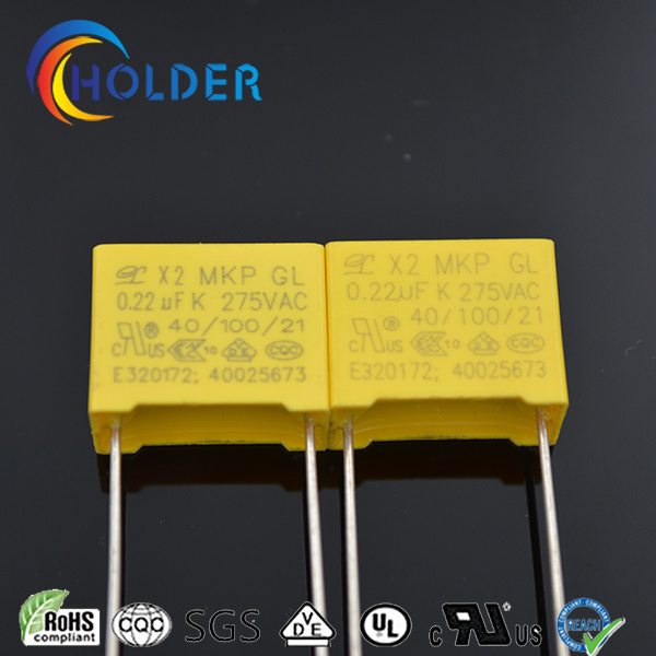 Metallized Polypropylene Yellow Box Film Capacitor (0.22UF 275VAC X2 MKP) /All Series RoHS Reach