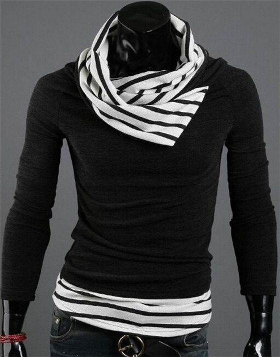 New Design Fashion Slim Fit Heaps Collar Casual Black Pullover Knitted Men′s Sweater