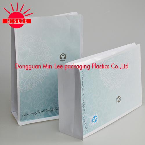 2016 Custom Flat Bottom Bag/ Brown Striped Kraft Paper Bag / Gusset Bag with Zipper Lock/Square Bottom Plastic Bag