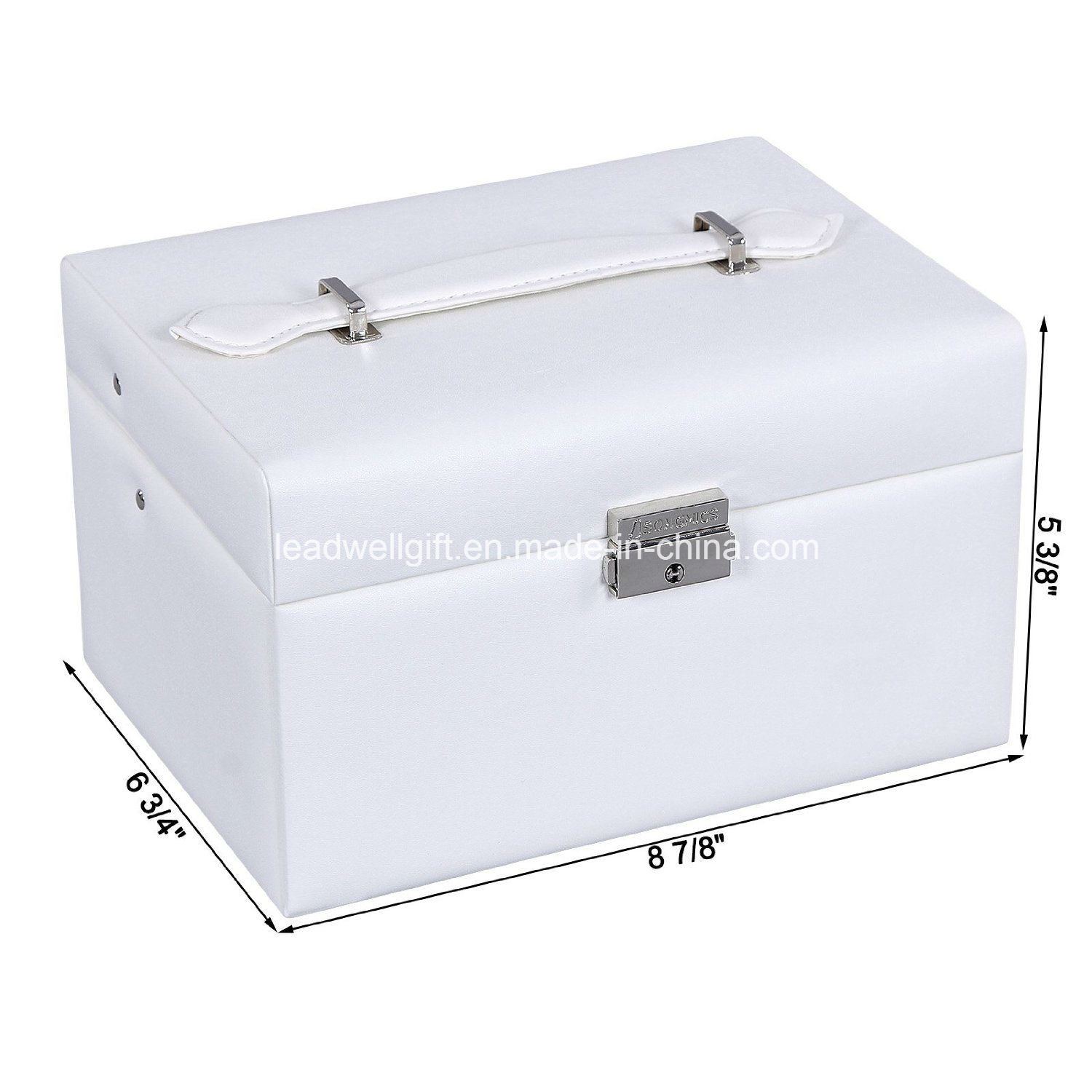 White Leather Jewelry Box Lockable Makeup Storage Case