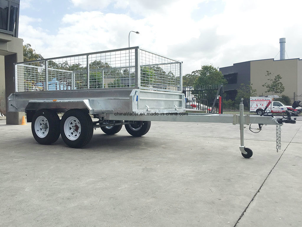8X5 10X5 10X6 Hot Dipped Galvanized Tandem Box Trailers with Cage
