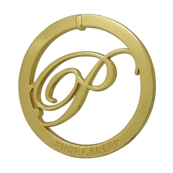 Gold Round Metal Cutout Logo Tag