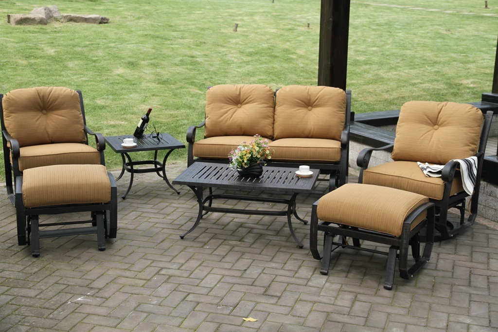 Swivel Glide Chat Loveseat Set Patio Furniture with Ottoman Outdoor Table Patio Sofa Garden Sofa Set