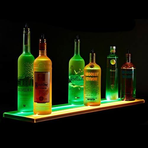 Illuminated Acrylic Wine Bottle Display Plinth, POS Display Merchandising