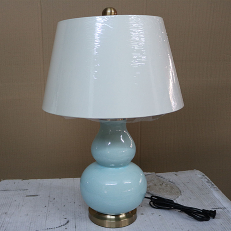 Antique Hotel Decorative Blue Ceramic Bedside Desk Light Table Lamp